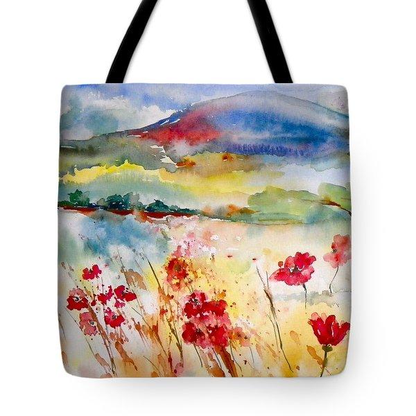 Sunny Field Tote Bag by Anna Ruzsan