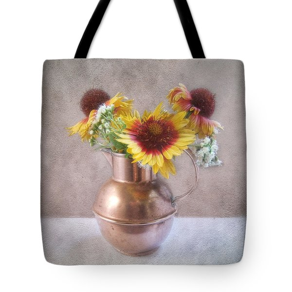 Sunny Treasure Flowers In A Copper Jug Tote Bag by Louise Kumpf