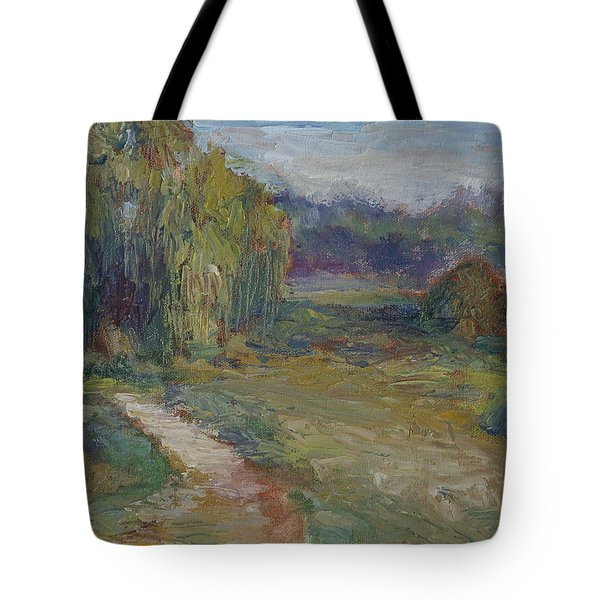 Sunny Morning In The Park -wetlands - Original - Textural Palette Knife Painting Tote Bag by Quin Sweetman
