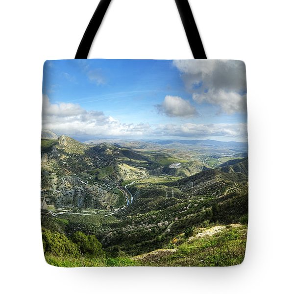 Tote Bag featuring the photograph Sunny Mountains View With Picturesque Clouds by Julis Simo