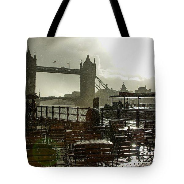 Sunny Rainstorm In London England Tote Bag