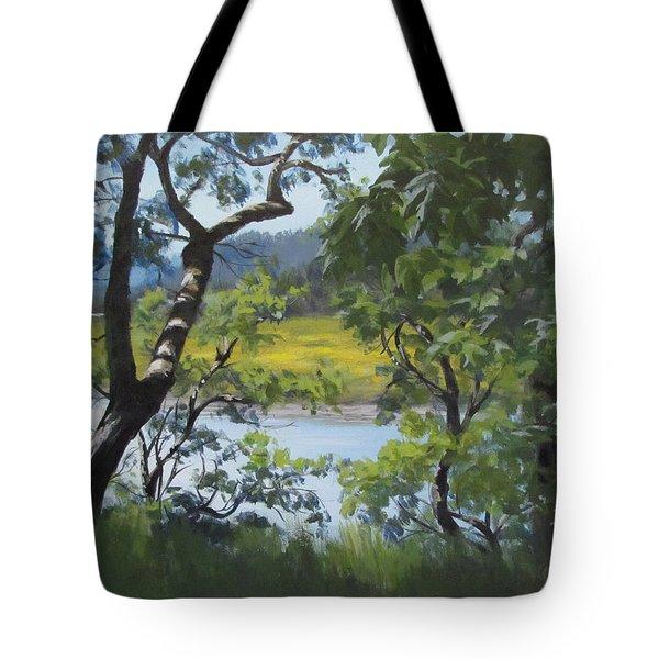 Sunny River Tote Bag by Karen Ilari