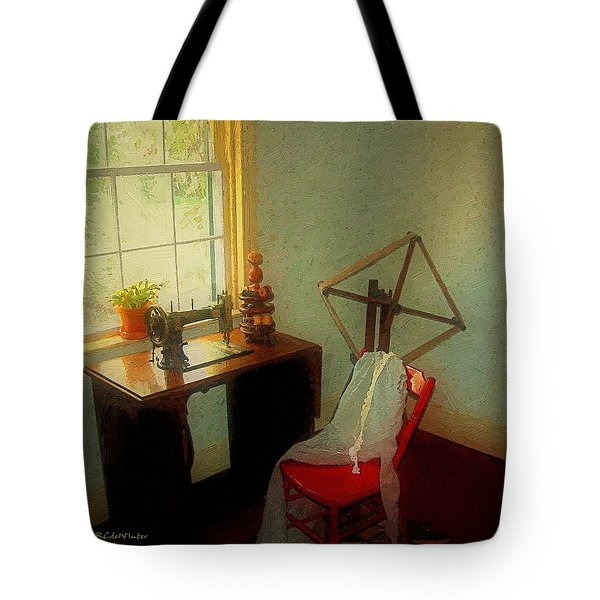 Sunny Sewing Room Tote Bag by RC deWinter