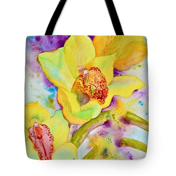 Sunny Splash Of Orchids Tote Bag by Beverley Harper Tinsley