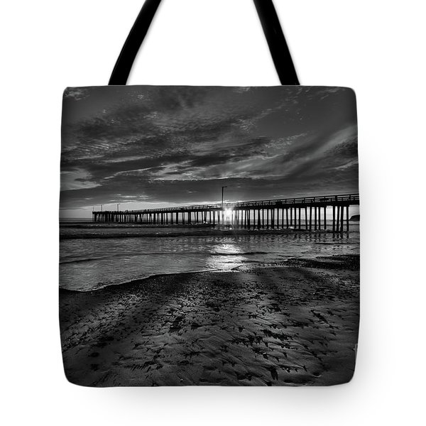 Sunrays Through The Pier In Black And White Tote Bag