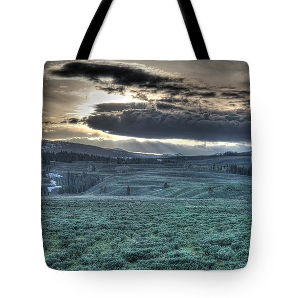 Sunrise At A Small Pond In Yellowstone Tote Bag