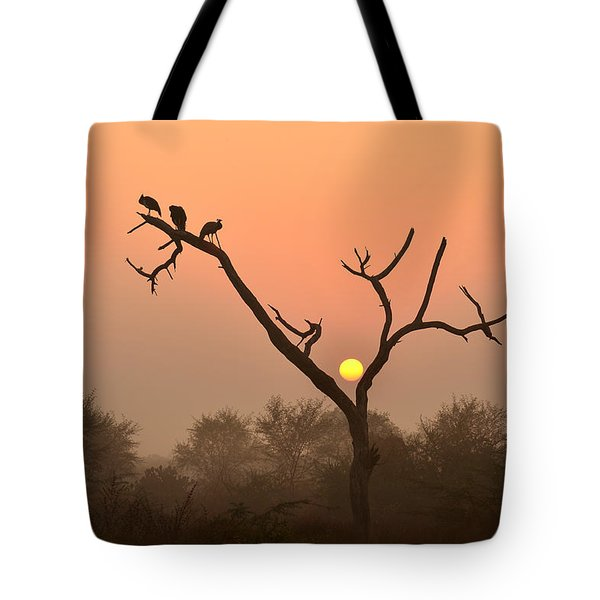 Sunrise At Bharatpur Tote Bag