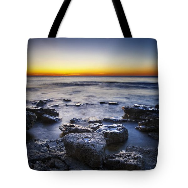 Sunrise At Cave Point Tote Bag