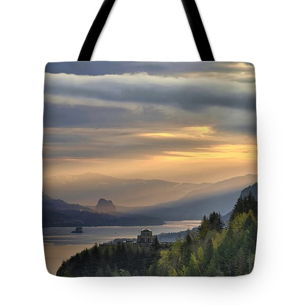 Sunrise At Crown Point Tote Bag by David Gn
