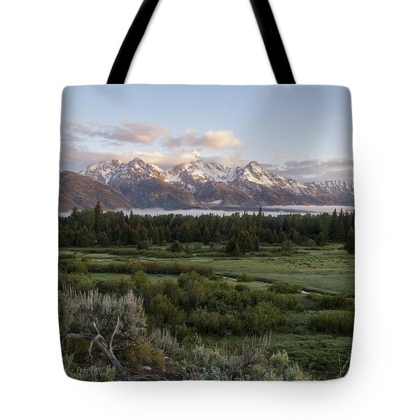 Sunrise At Grand Teton Tote Bag by Brian Harig