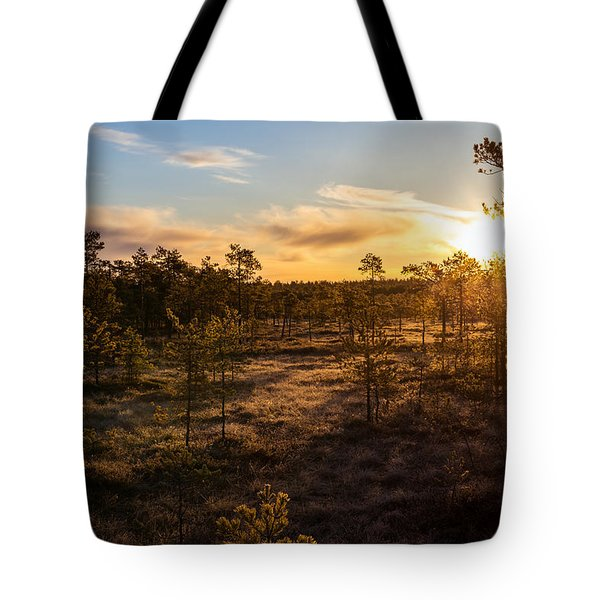Sunrise At Linnaistensuo Tote Bag by Janne Mankinen