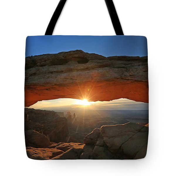 Sunrise At Mesa Arch Tote Bag by Jaki Miller
