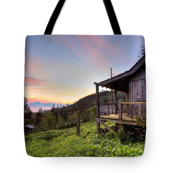 Sunrise At Mt Leconte Tote Bag by Debra and Dave Vanderlaan