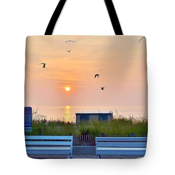 Sunrise At Rehoboth Beach Boardwalk Tote Bag
