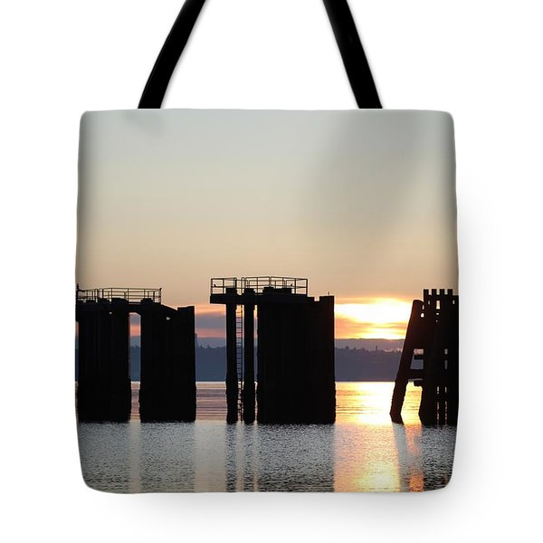 Southworth Ferry Pilling At Dawn Tote Bag by E Faithe Lester