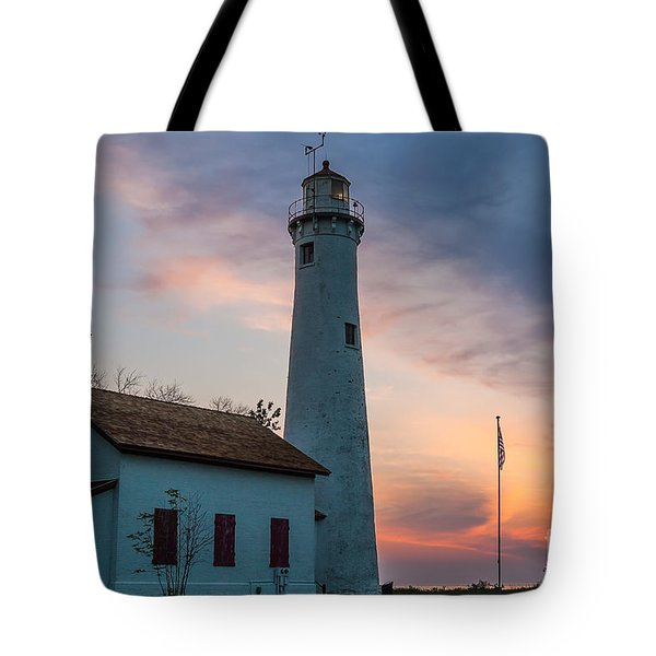 Tote Bag featuring the photograph Sunrise At Sturgeon Point by Patrick Shupert
