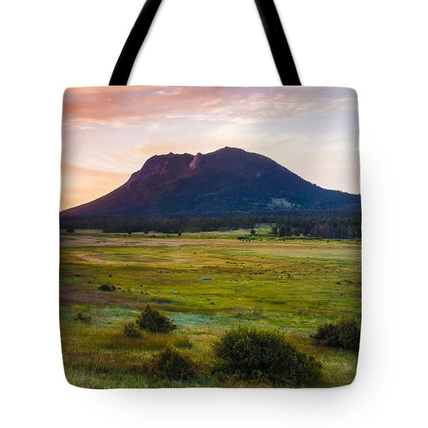 Sunrise At The Horseshoe Park Of The Colorado Rockies Tote Bag by Ellie Teramoto