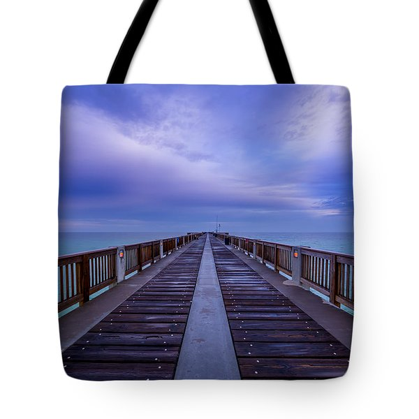 Sunrise At The Panama City Beach Pier Tote Bag
