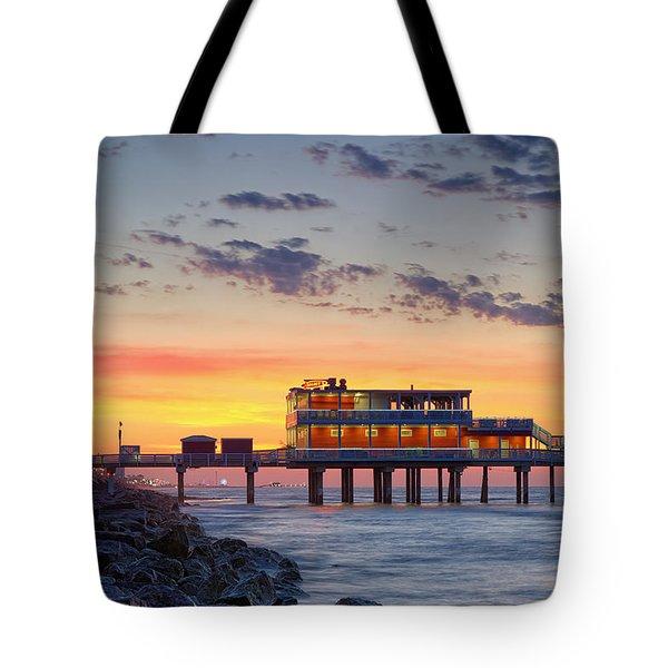 Sunrise At The Pier - Galveston Texas Gulf Coast Tote Bag