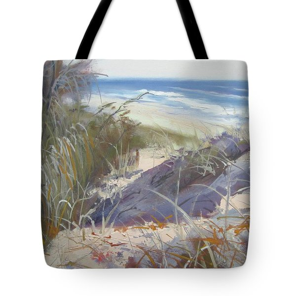 Tote Bag featuring the painting Sunrise Beach Dunes Sunshine Coast Qld Australia by Chris Hobel