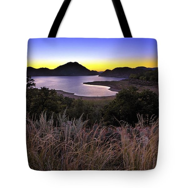 Sunrise Behind The Quartz Mountains - Oklahoma - Lake Altus Tote Bag