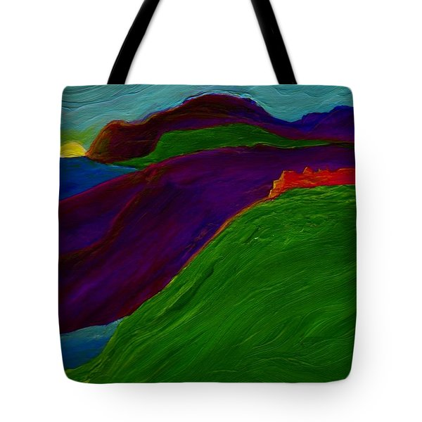 Tote Bag featuring the painting Sunrise Castle By Jrr by First Star Art