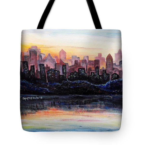 Tote Bag featuring the painting Sunrise City by Shana Rowe Jackson