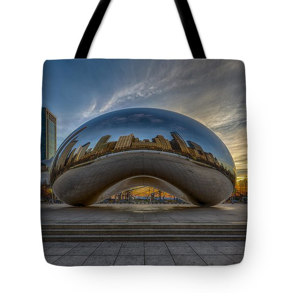 Tote Bag featuring the photograph Sunrise Cloud Gate by Sebastian Musial