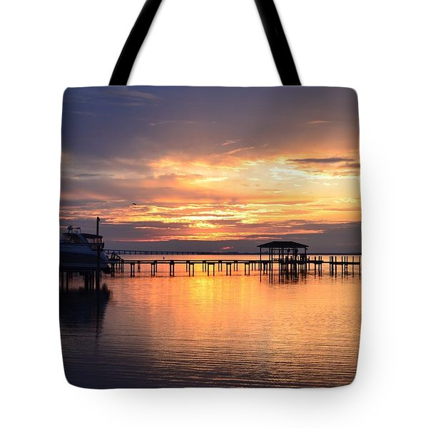 Tote Bag featuring the photograph Sunrise Colors On The Sound by Jeff at JSJ Photography