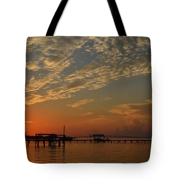 Sunrise Colors With Storms Building On Sound Tote Bag by Jeff at JSJ Photography