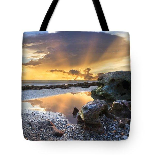 Sunrise Explosion Tote Bag by Debra and Dave Vanderlaan