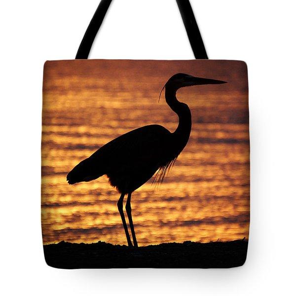 Tote Bag featuring the photograph Sunrise Heron by Leticia Latocki