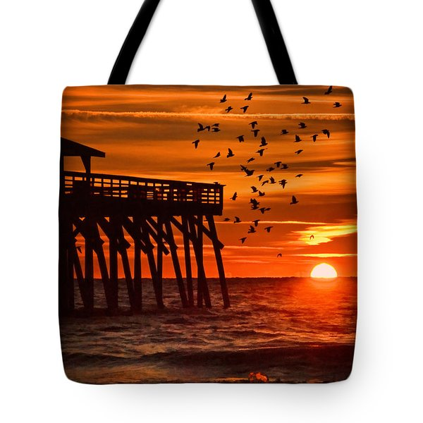 Sunrise In Myrtle Beach With Birds Flying Around The Pier Tote Bag