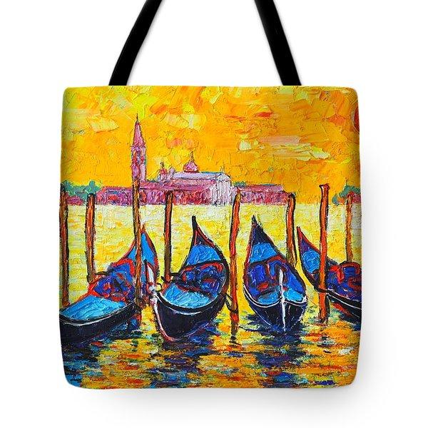 Sunrise In Venice Italy Gondolas And San Giorgio Maggiore Tote Bag by Ana Maria Edulescu