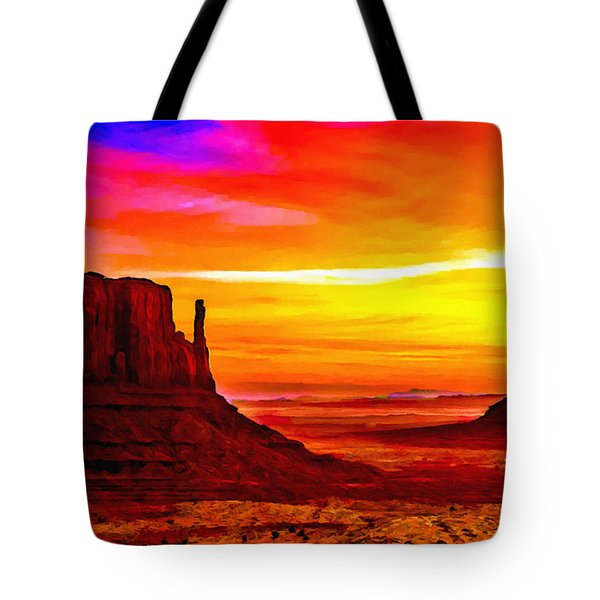 Sunrise Monument Valley Mittens Tote Bag