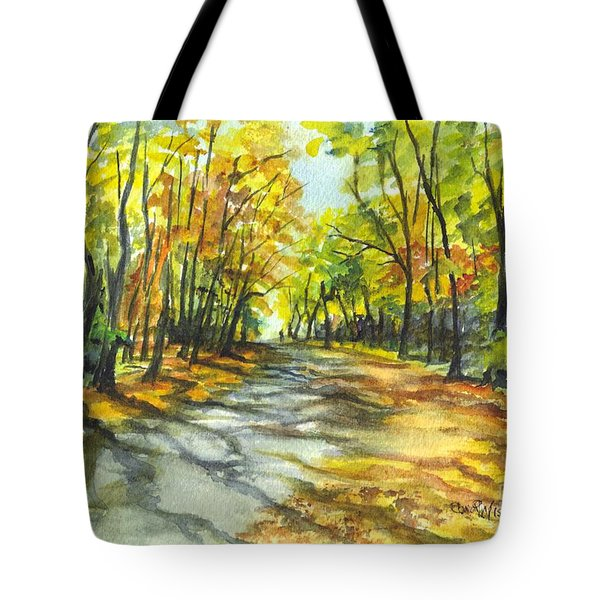 Sunrise On A Shady Autumn Lane Tote Bag