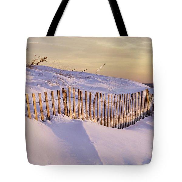 Sunrise On Beach Fence Tote Bag