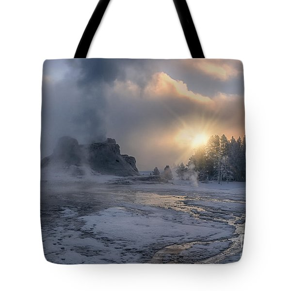 Sunrise On Castle Geyser - Yellowstone Tote Bag by Sandra Bronstein
