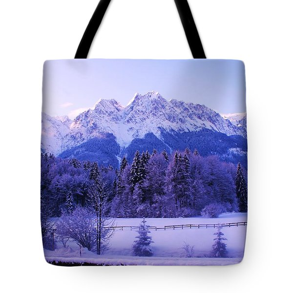 Sunrise On Snowy Mountain Tote Bag