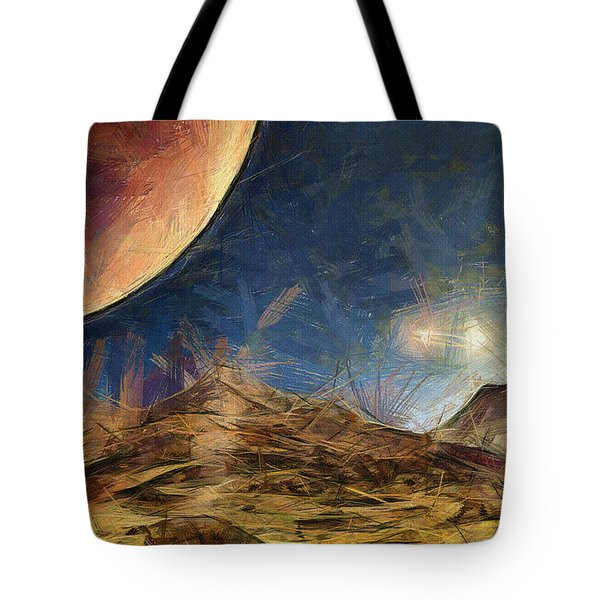 Sunrise On Space Tote Bag by Ayse Deniz