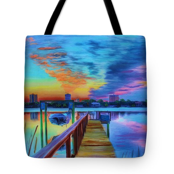 Sunrise On The Dock Tote Bag