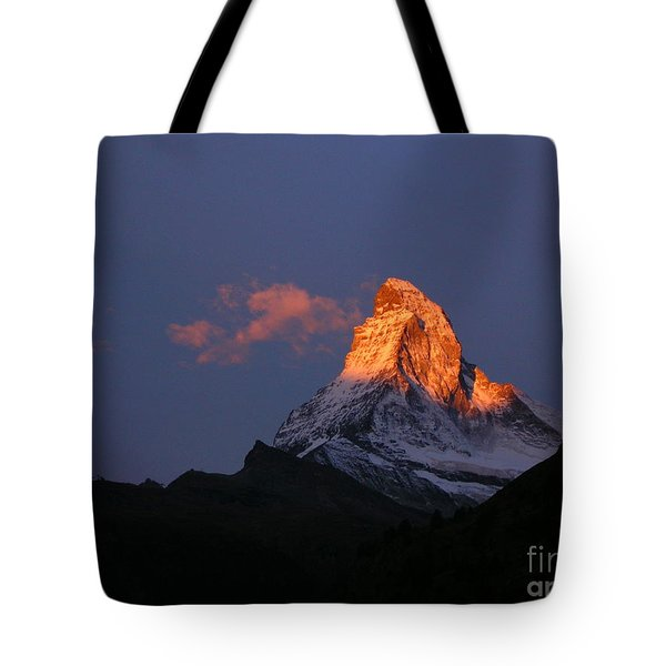 Sunrise On The Matterhorn Tote Bag by Micheline Heroux
