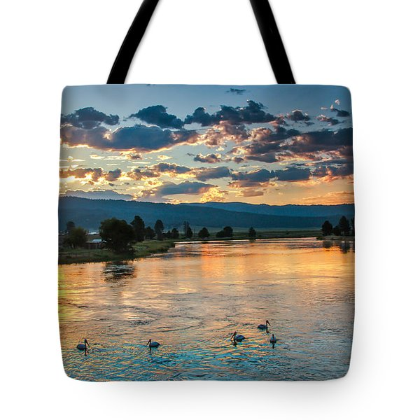 Sunrise On The North Payette River Tote Bag by Robert Bales