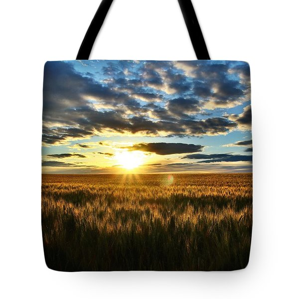 Sunrise On The Wheat Field Tote Bag