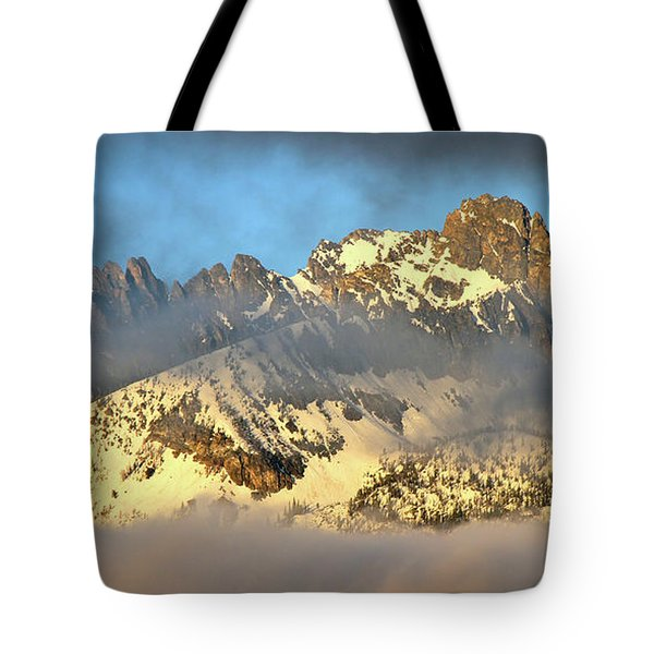 Sunrise On Thompson Peak Tote Bag by Ed  Riche