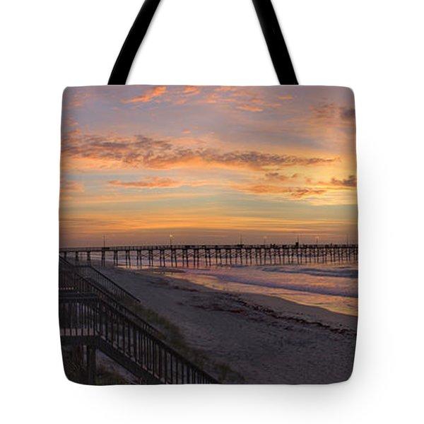 Sunrise On Topsail Island Panoramic Tote Bag