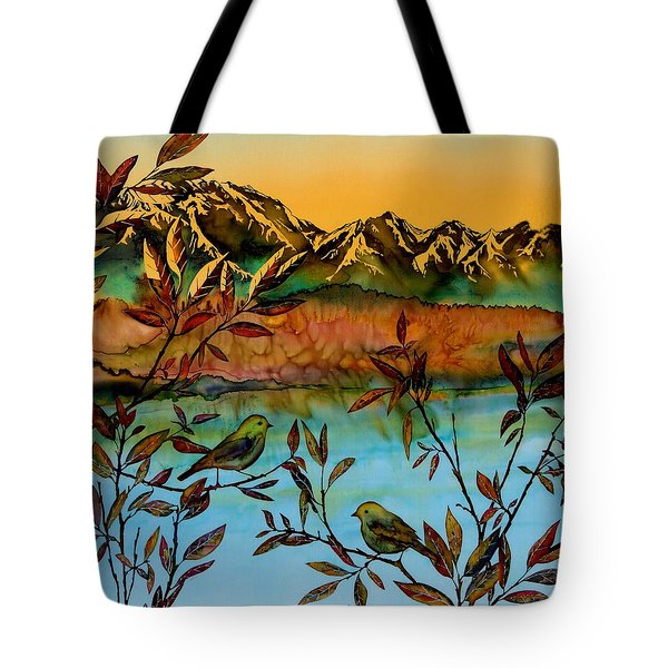 Sunrise On Willows Tote Bag by Carolyn Doe