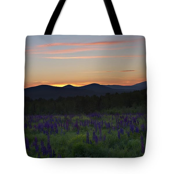 Sunrise Over A Field Of Lupines Tote Bag