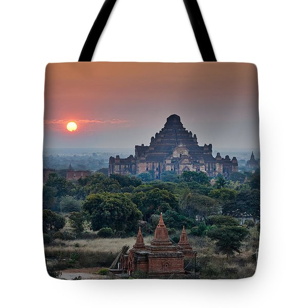 sunrise over Bagan Tote Bag by Juergen Ritterbach