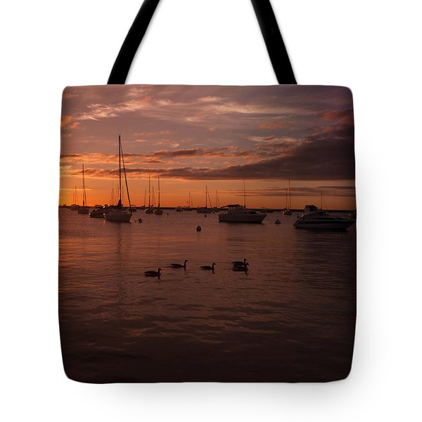 Sunrise Over Lake Michigan Tote Bag